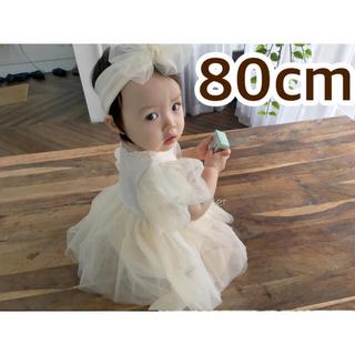 韓国子供服80cm ベビードレス ロンパース ヘアバンド付き ホワイト