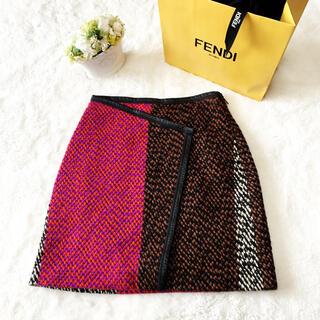 フェンディ(FENDI)の美品 FENDI フェンディ   ツイード 本革トリミング スカート(ひざ丈スカート)