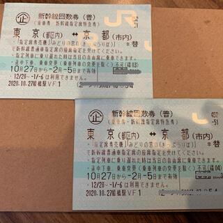 ジェイアール(JR)の新幹線回数券 新大阪から東京 2枚 (往復分)(鉄道乗車券)