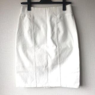 フリーズマート(FREE'S MART)のFree's Mart デニムタイトスカート 白(ひざ丈スカート)