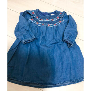 babyGAP - 美品 女の子 ベビーギャップ デニム 長袖 ワンピース 80cm 綿100%