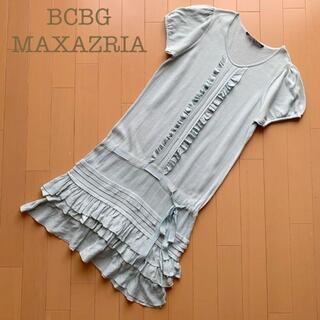 BCBGMAXAZRIA - BCBG MAXAZRIA ニット裾フリルワンピース緑グリーン系 S半袖