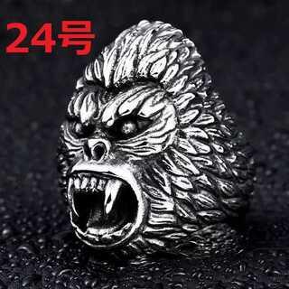 迫力抜群 ゴリラ エイプ 猿人 シルバー リング 指輪 24号(リング(指輪))