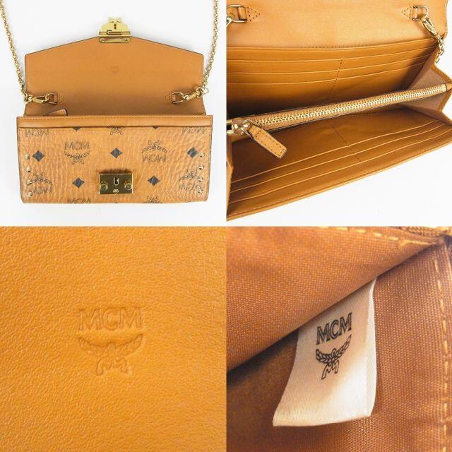 MCM(エムシーエム)のMCM 美品 ヴィセトス レザー チェーン ショルダーストラップ付き 長財布 レディースのファッション小物(財布)の商品写真