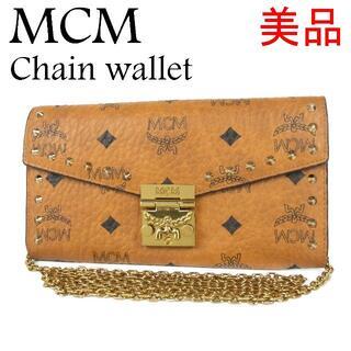MCM - MCM 美品 ヴィセトス レザー チェーン ショルダーストラップ付き 長財布