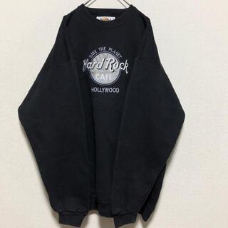 ハードロックカフェ  スウェット トレーナー 黒銀 90s 刺繍 ヴィンテージ
