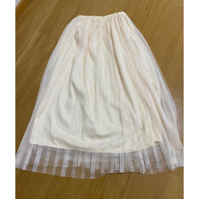 PROPORTION BODY DRESSING(プロポーションボディドレッシング)のプロポーションボディドレッシングストライプチュール レーススカート レディースのスカート(ロングスカート)の商品写真