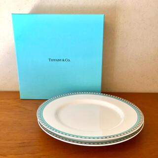 Tiffany & Co. - ティファニー プラチナブルーバンドデザートプレート2枚セット 箱、紙バッグ付き