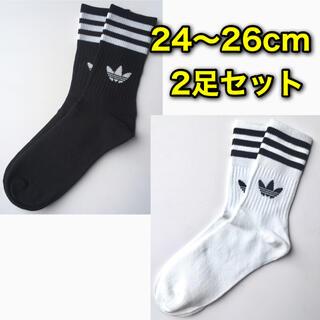 adidas - アディダス ミドルカット クルーソックス 24 26cm 白 黒 2足 靴下