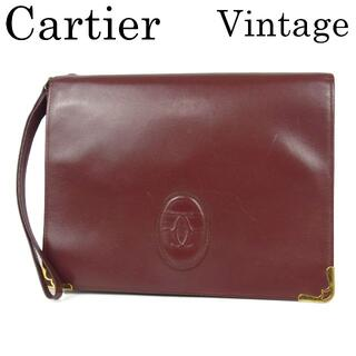 カルティエ(Cartier)のカルティエ ヴィンテージ マストライン 2C ダブルC レザー クラッチ バッグ(クラッチバッグ)