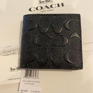 coach 新品 未使用 シグネチャー レザー 二つ折り メンズ財布