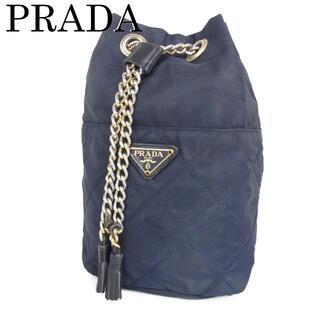 PRADA - プラダ キルティング チェーン タッセル 巾着式 ポーチ ミニ ハンド バッグ