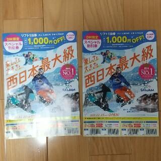 スキージャム勝山リフト割引券2枚(スキー場)