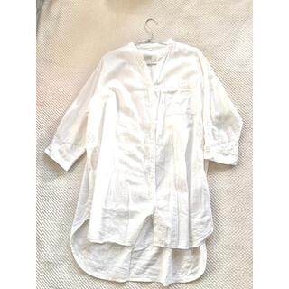 イオン(AEON)のAEON 麻 白色 羽織りシャツ ( オーバーサイズ デザイン シャツワンピース(シャツ/ブラウス(長袖/七分))