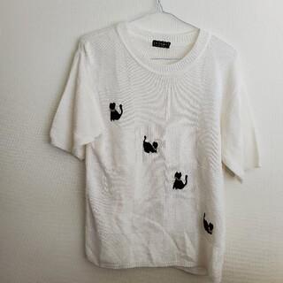 【1977】レトロ古着◇黒猫の刺繍が可愛い♪リネン混サマーニット(ニット/セーター)