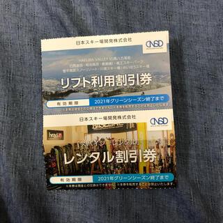 2セット 日本駐車場開発株主優待 リフト利用割引券1枚/レンタル割引券1枚 1(スキー場)