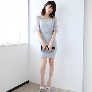 デイジーストア(dazzy store)のキャバ ドレス 袖付き レース ブルー L(ナイトドレス)