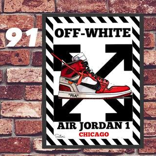 AIR JORDAN 1 off-white コミックシューズ ポスター 1枚(フォトフレーム)