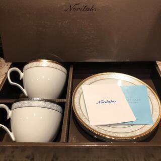ノリタケ(Noritake)の新品未使用☆ノリタケハンプシャーゴールド&プラチナティー・コーヒー碗皿ペアセット(グラス/カップ)