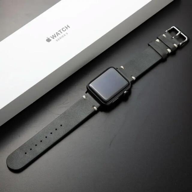 Apple Watch(アップルウォッチ)の在庫残り1! Apple Watch 本革 レザー バンド メンズの時計(レザーベルト)の商品写真
