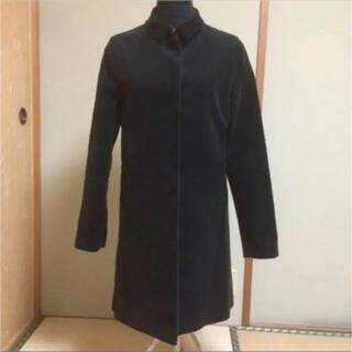 マカフィー(MACPHEE)のMACPHEE ステンカラーコート コーデュロイ 黒 日本製 トゥモローランド(ロングコート)