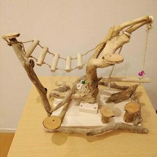 小鳥の流木止まり木 バードジム アスレチック 遊び場 天然流木使用(鳥)