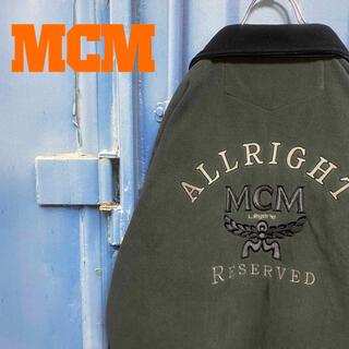 MCM - 90s OLD MCM ボアロングジャケット バッグロゴ ゆるだぼ 刺繍 古着