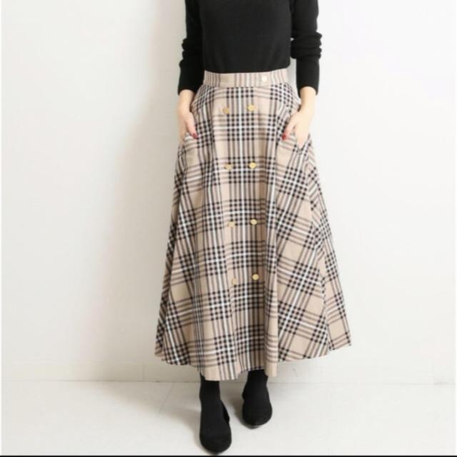 IENA(イエナ)のVERMEIL par iena チェック金ボタンWフロント フレアスカート レディースのスカート(ロングスカート)の商品写真