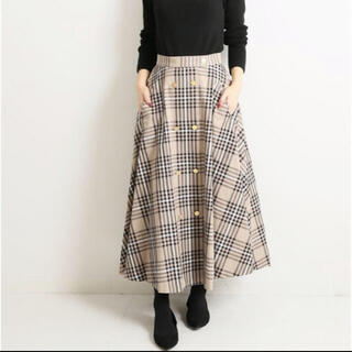 IENA - VERMEIL par iena チェック金ボタンWフロント フレアスカート