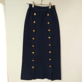 インゲボルグ(INGEBORG)の美品 INGEBORG ロングスカート ニット 金ボタン ネイビー(ロングスカート)