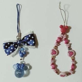 ディズニー(Disney)のディズニー ストラップ  ブルー&ピンク 2種(ストラップ)