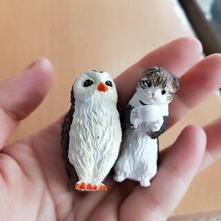 Takara Tomy - 美品 かんぱいにゃん ガチャ 猫 フクロウ マスコット フィギュア 置物