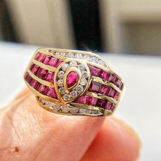 【鑑別付き】K14 ダイヤモンド ルビー リング(リング(指輪))