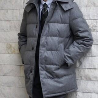 エディフィス(EDIFICE)の【ラク様専用】 エディフィス カノニコ生地 ウールダウンコート46 グレー(ダウンジャケット)