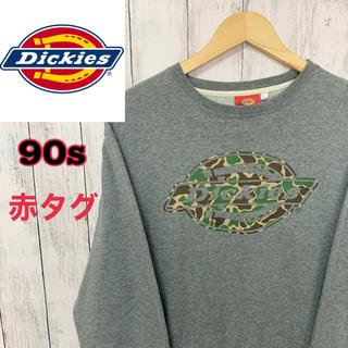 ディッキーズ(Dickies)の[古着]Dickies 赤タグ ビンテージ 迷彩ロゴ ネイビー Lサイズ(スウェット)