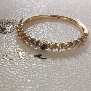 agete - アガット K10 サファイア ダイヤモンド リング 11号 デザイン 美品