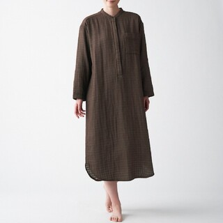MUJI (無印良品) - インド綿 四重ガーゼクルタ ブラウン