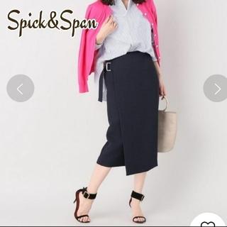 Spick and Span - スピック&スパン サイドベルトジャガードタイトスカート ネイビー S