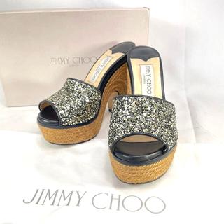 JIMMY CHOO - 【美品】ジミーチュウ ハイヒール 厚底 グリッター サンダル スター