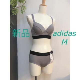 アディダス(adidas)の新品 M  グレー アディダス ブラ ショーツ ハーフトップ スポーツブラ(ブラ&ショーツセット)