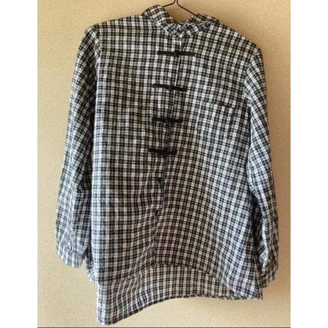 merlot(メルロー)のチェック柄チャイナボタンコットンネルシャツブラウス レディースのトップス(シャツ/ブラウス(長袖/七分))の商品写真