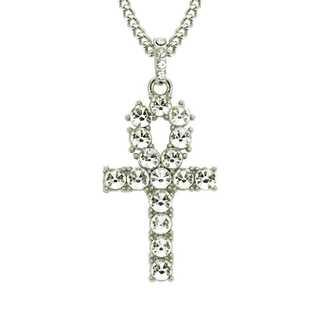 オープンクロス ネックレス シルバー ヒップホップ ジルコニア クロス 十字架(ネックレス)