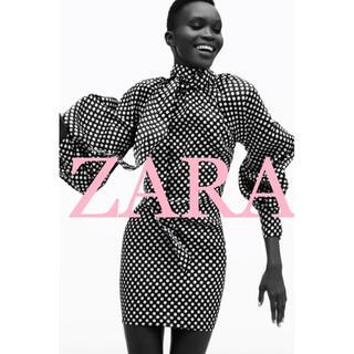 ザラ(ZARA)の新品・未使用 ザラ ドット柄 リボンタイ ワンピース(ひざ丈ワンピース)