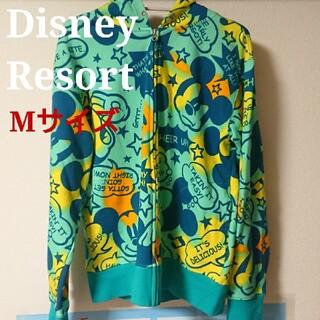 ディズニー(Disney)のディズニーリゾート ミッキー グリーン ブルー 総柄 パーカー M 1日使用(パーカー)