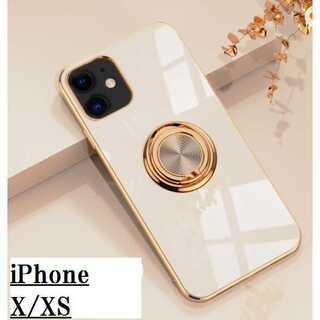 匿名配送 iPhone X/XS ケース ライトベージュ バンカーリング(iPhoneケース)