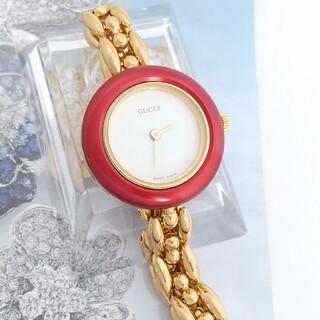 Gucci - 綺麗 グッチ チェンジベゼル 赤アルミ 電池新品 レディース腕時計 着物 極美品