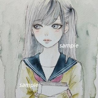 手描きイラスト 本好きセーラー服少女 ドローイング  水彩画(絵画/タペストリー)