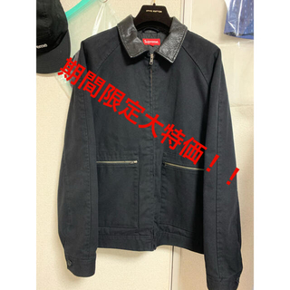 Supreme - supreme leather collar work jacket L 黒