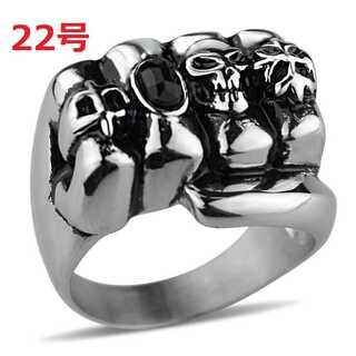髑髏 スカル パンク PUNK ゴシック ジルコニア シルバー 指輪 22号(リング(指輪))