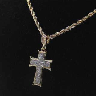 クロス ネックレス ゴールド 十字架 ヒップホップ ジルコニア チェーン60cm(ネックレス)
